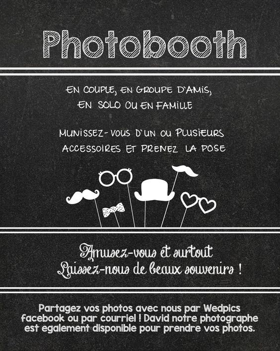 directives pour photobooth imprimer et encadrer planifier notre mariage wedding. Black Bedroom Furniture Sets. Home Design Ideas