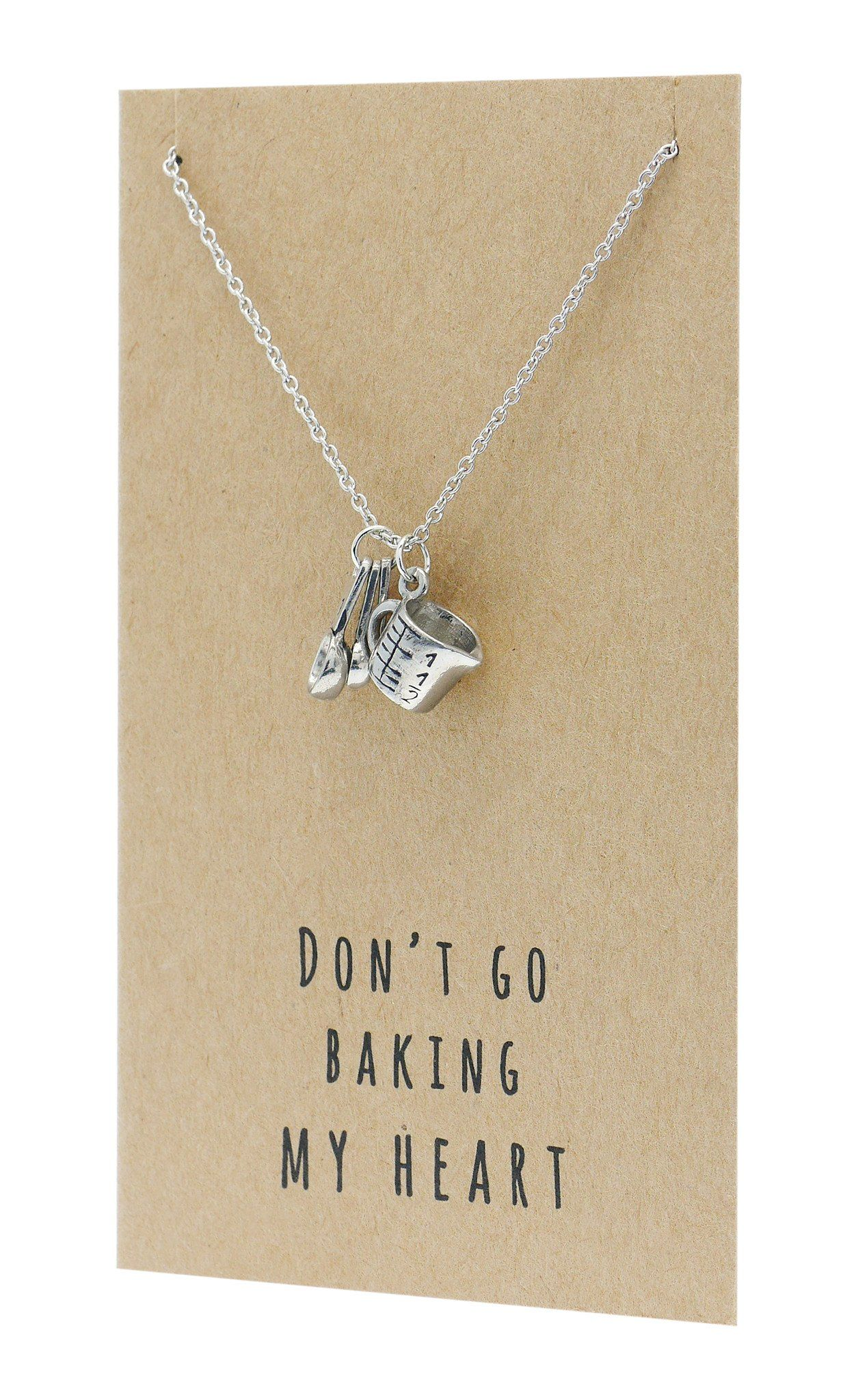 Carmel Gifts for Mom Bakers Kitchen Charm Necklace Funny Greeting