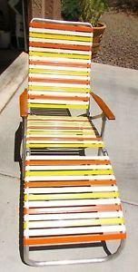 Vintage Aluminum Folding Vinyl Strap Chaise Lounge Patio Lawn