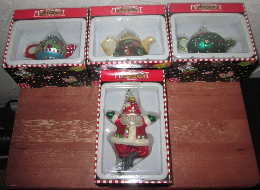 Mary Engelbreit Lot of 4 Blown Glass CHRISTMAS ORNAMENTS Kurt S Adler NIB