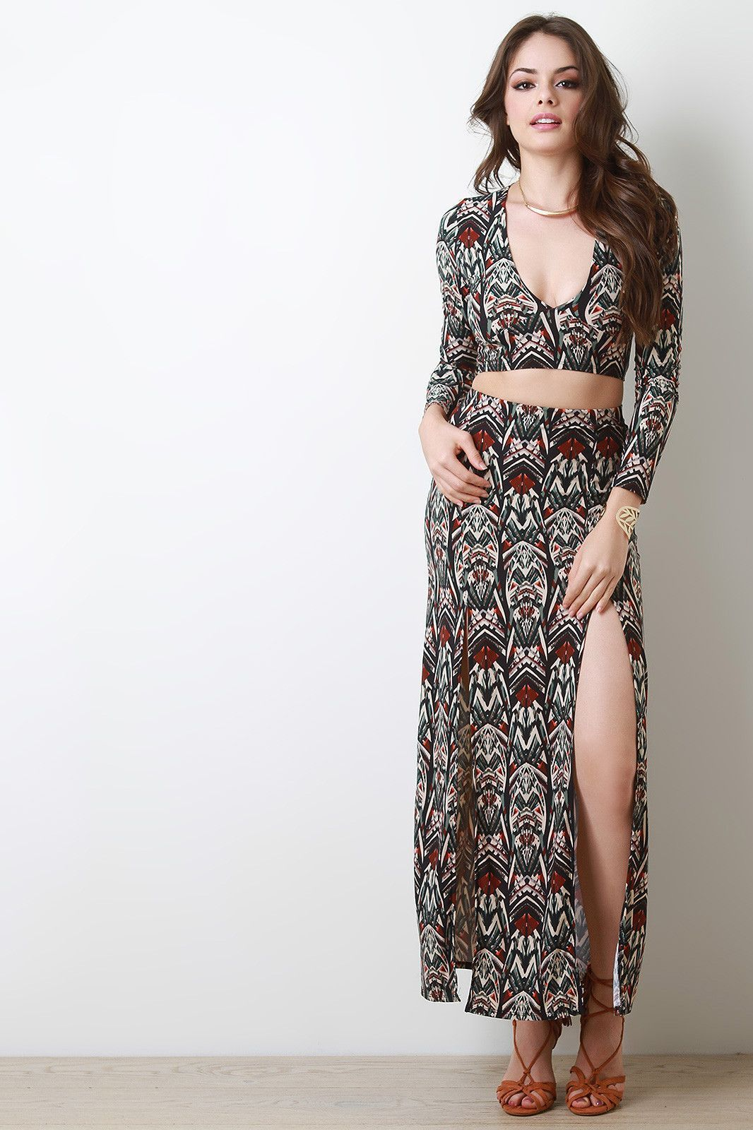 9d34f13b5b Abstract Print Double Deep Slit Maxi Skirt | Products | Maxi dress ...