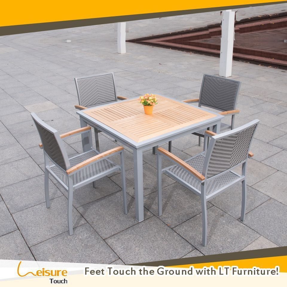 High Quality Aluminum Outdoor Tables Teak Wood Garden Sqauare Table And Chairs For In Patio Furniture