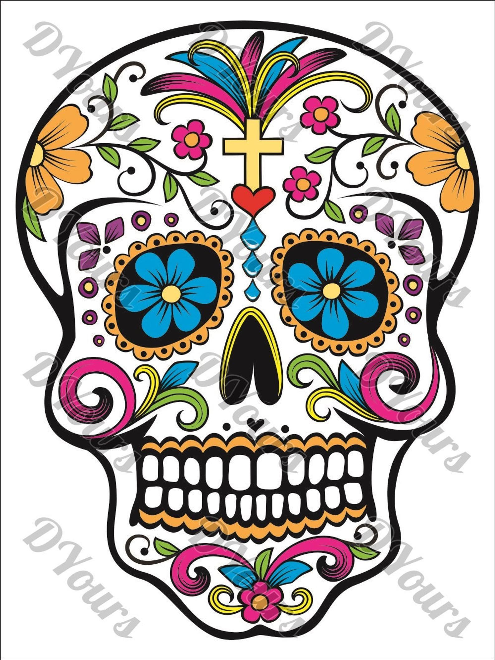 - Sugar Skull Fully Coloured Mexican Day Of The Dead Skull Etsy