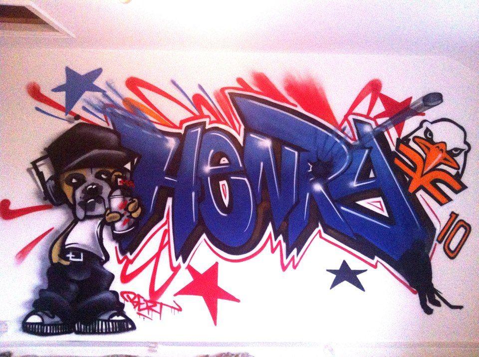 Children teen kids bedroom graffiti mural hand
