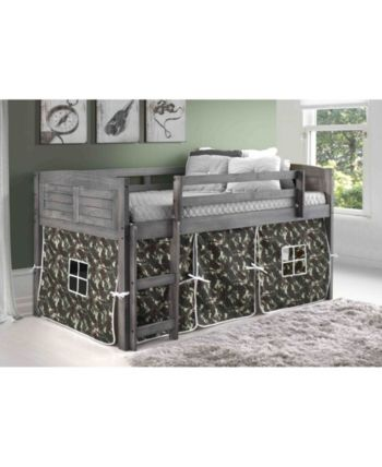 Donco Kids Twin Low Loft Bed With Camo Tent Reviews Furniture Macy S Low Loft Beds Kid Beds Furniture