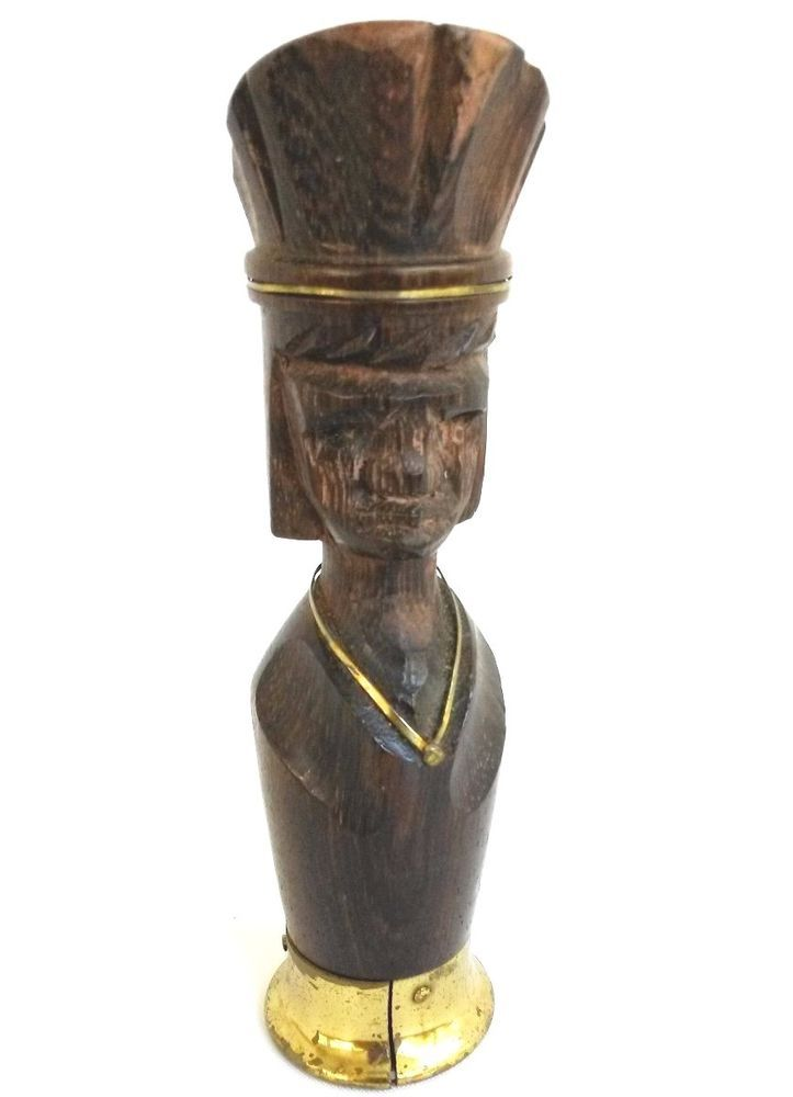 Vintage Wood Carved African Man Hat Bottle Opener Brass