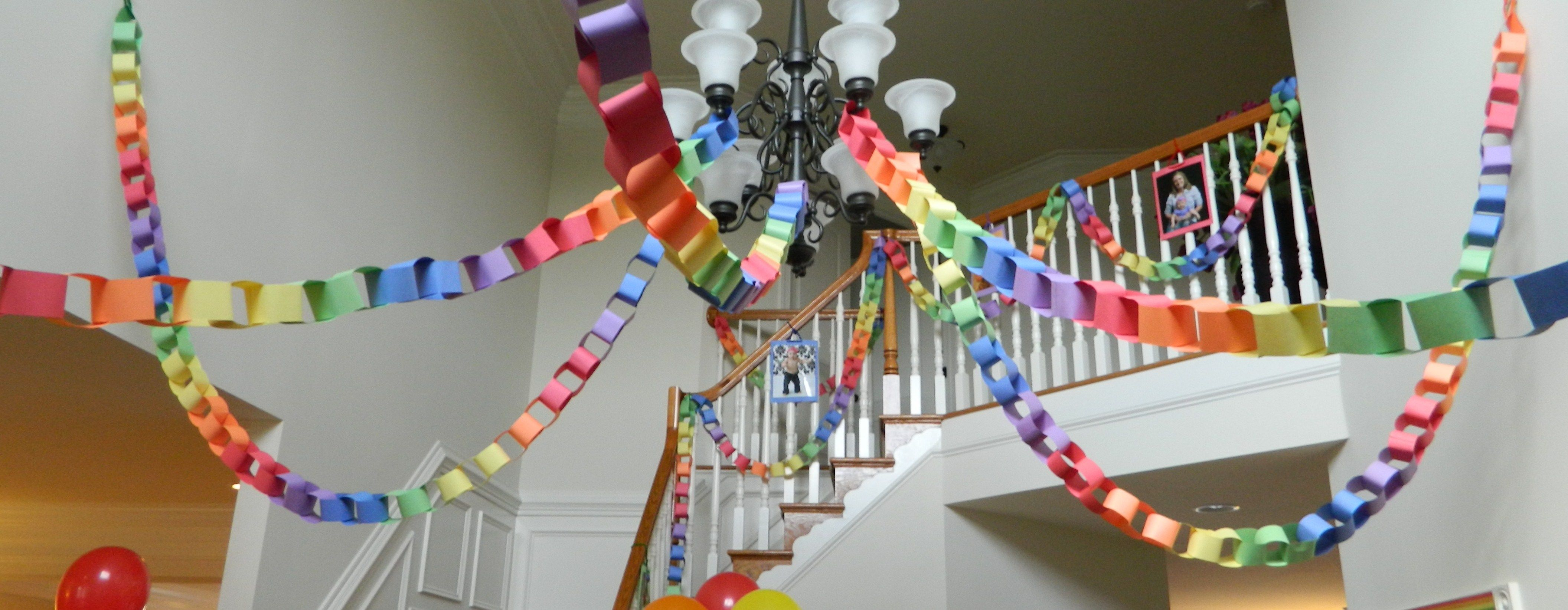 Rainbow paper chains easy to make with just construction paper a