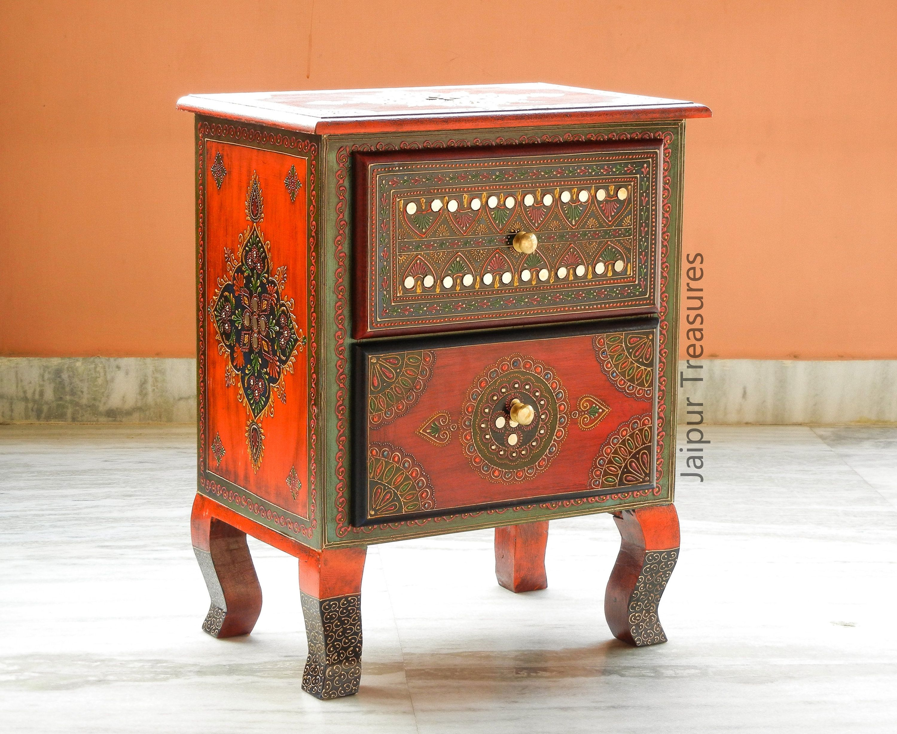 made of wood and brass Handmade antique BedSide two Drawer cabinet vintage look living room