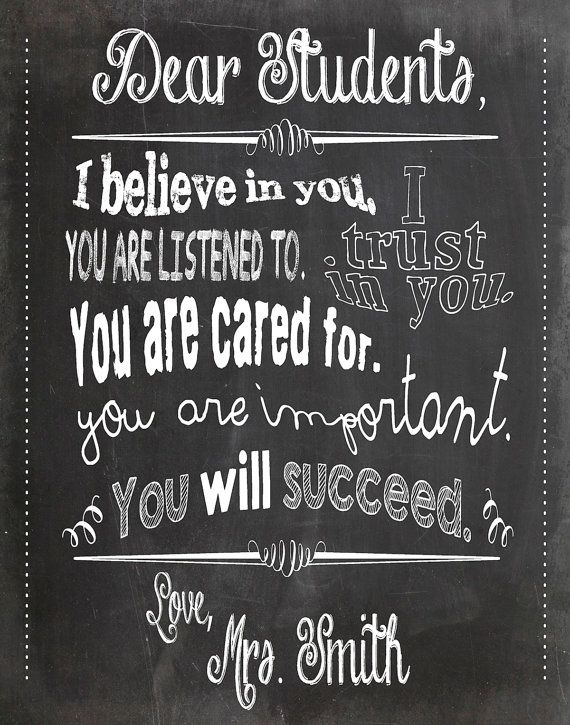 Dear students teacher chalkboard classroom poster 11x14 inches black gray white