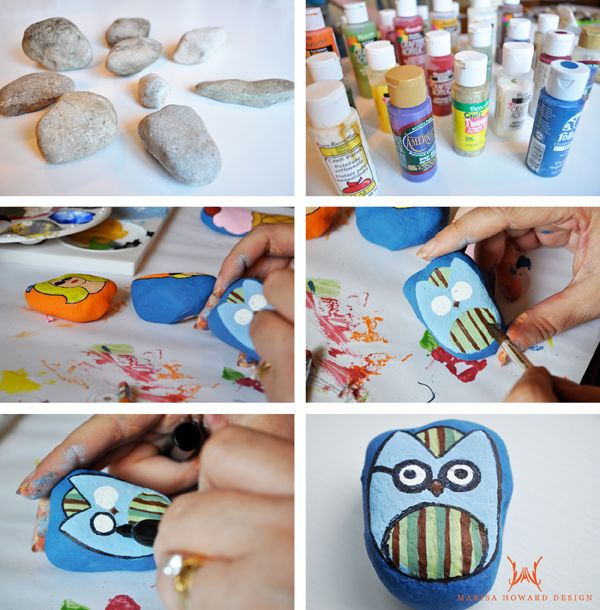 Learn how to paint cute designs on rocks