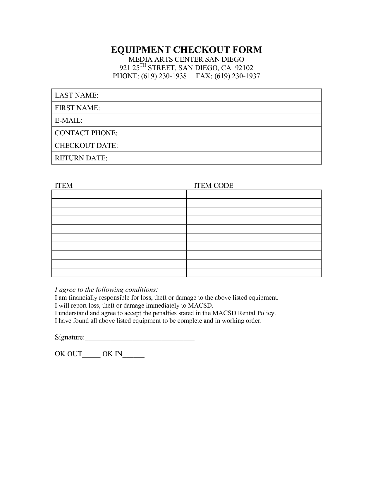 Image Result For Company Equipment Checkout Form  Biz Templates