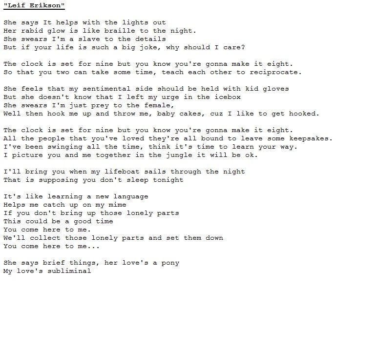 Interpol ~ Leif Erikson | Lyrics & Poetry | Pinterest | Leif ...
