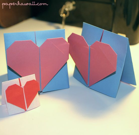 Origami Valentines Day Card Tutorial Heart Cards Card Tutorials