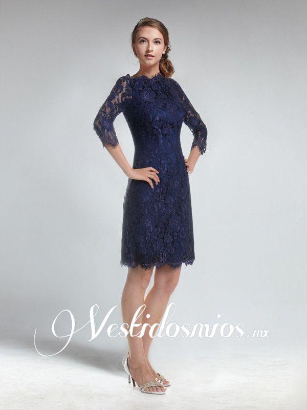 Elegante Encaje Vestido de Noche Corto con Mangas VP248 [VP248 ...