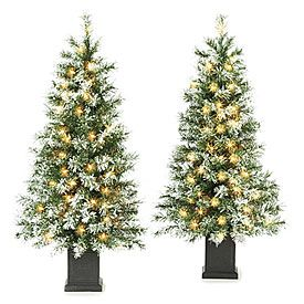 35 pre lit artificial urn christmas trees white flocking with clear lights 2 pack big lots - Big Lots Pre Lit Christmas Trees