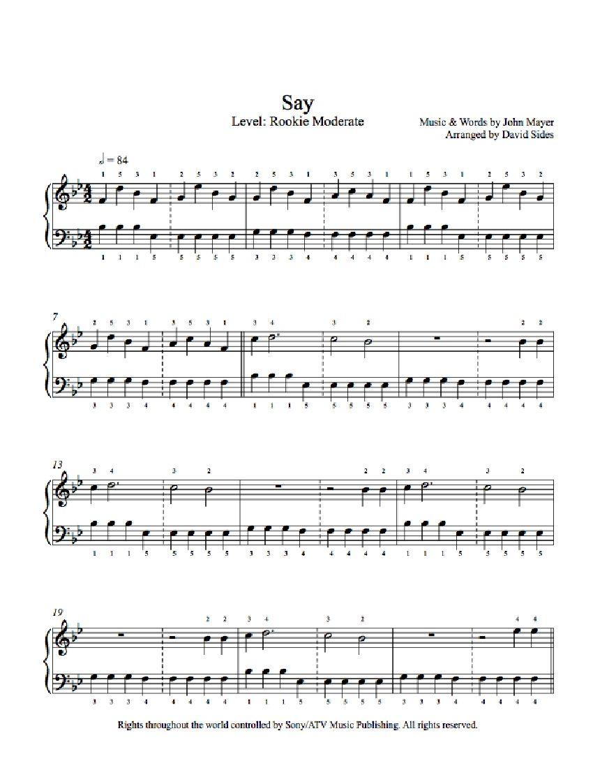 Say By John Mayer Piano Sheet Music Rookie Level Piano Sheet Music Sheet Music Piano Sheet