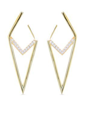 evie  emma  Gold Over Fine Silver Plate Cubic Zirconia Pave Inverted T