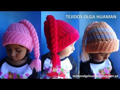 Gorro con trenza para bebe o niña tejido a crochet - YouTube ...