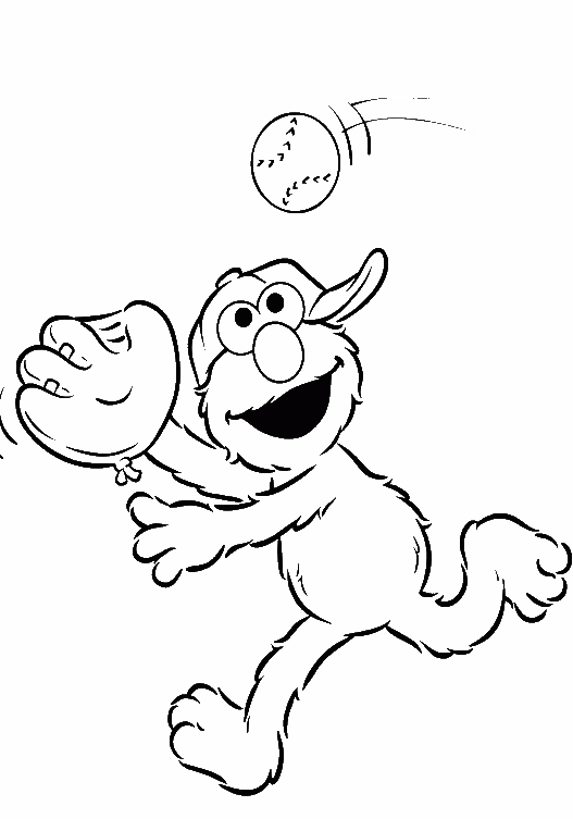 Elmo Was Playing Small Ball Coloring Page - Elmo Coloring Pages ...