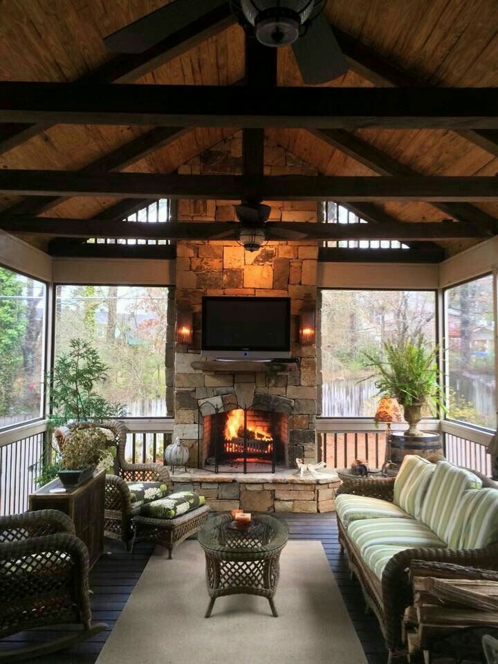 Screened in outdoor patio w fireplace | Outdoor living ... on Doobz Outdoor Living id=58752