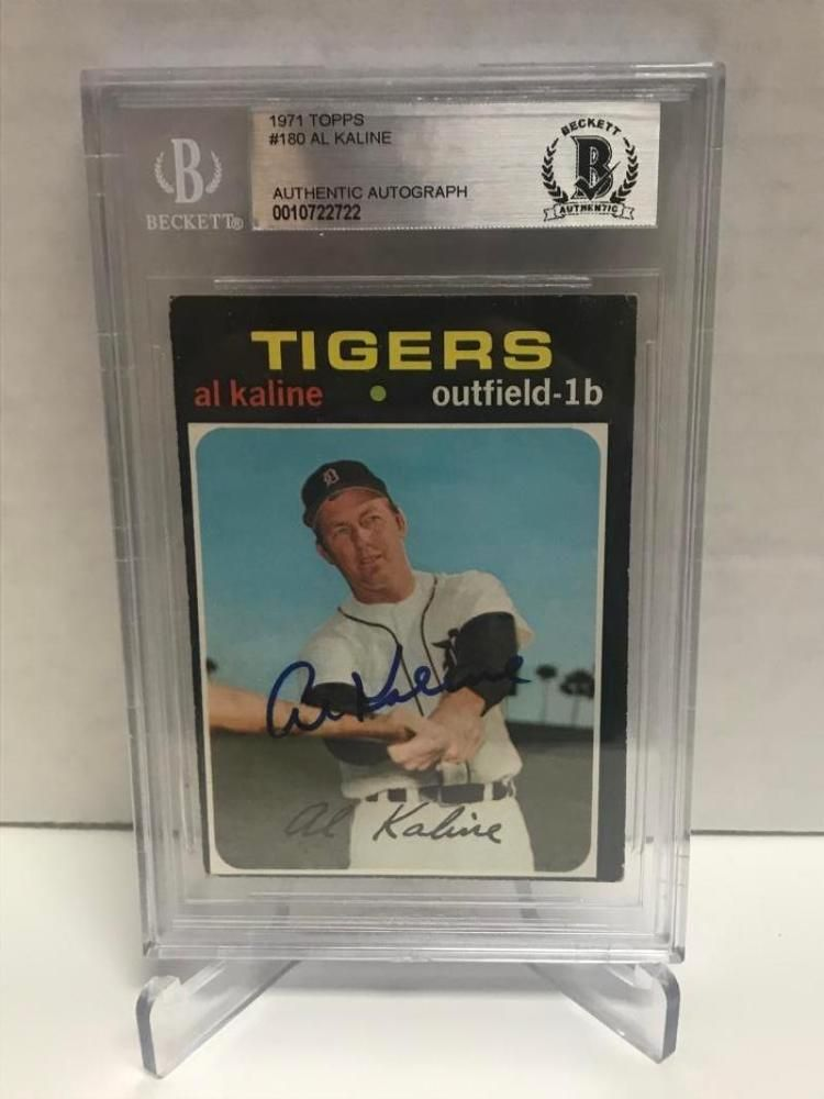 1971 topps al kaline tigers signed card beckett authentic