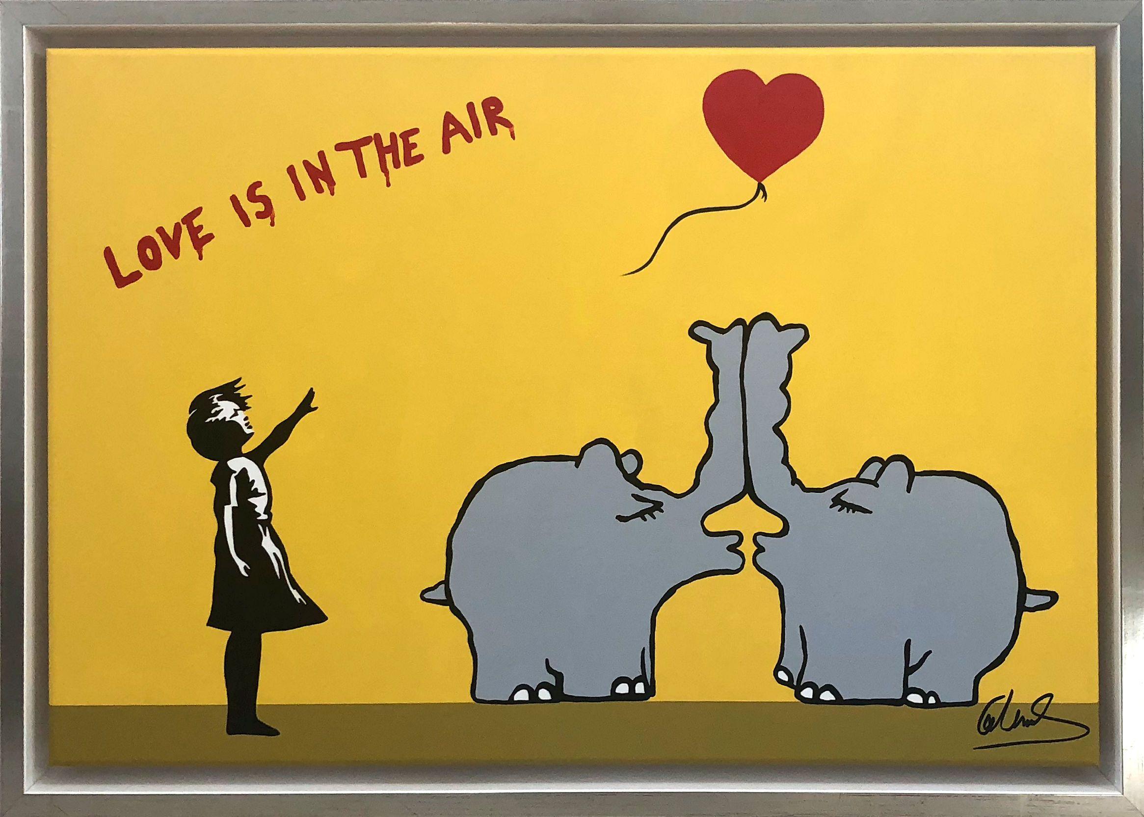 Otto Meets Banksy Otto Waalkes Gemalde Love Is In The Air With Kissing Ottifants Gemalde Zeichnungen Kunst Bilder