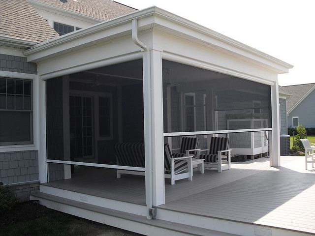 Remote controlled and retractable screen for screened in for Retractable patio screens