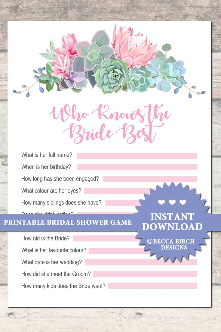 who knows the bride best bridal shower game garden party floral printable instant download