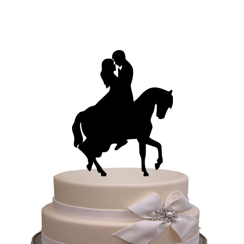 Wedding Cake Topper Silhouette Bride And Groom On The Horse
