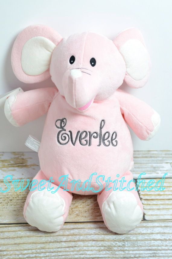 Monogrammed stuffed animal is perfect baby gift for elephant monogrammed stuffed animal is perfect baby gift for elephant themed nursery or baby shower negle Image collections