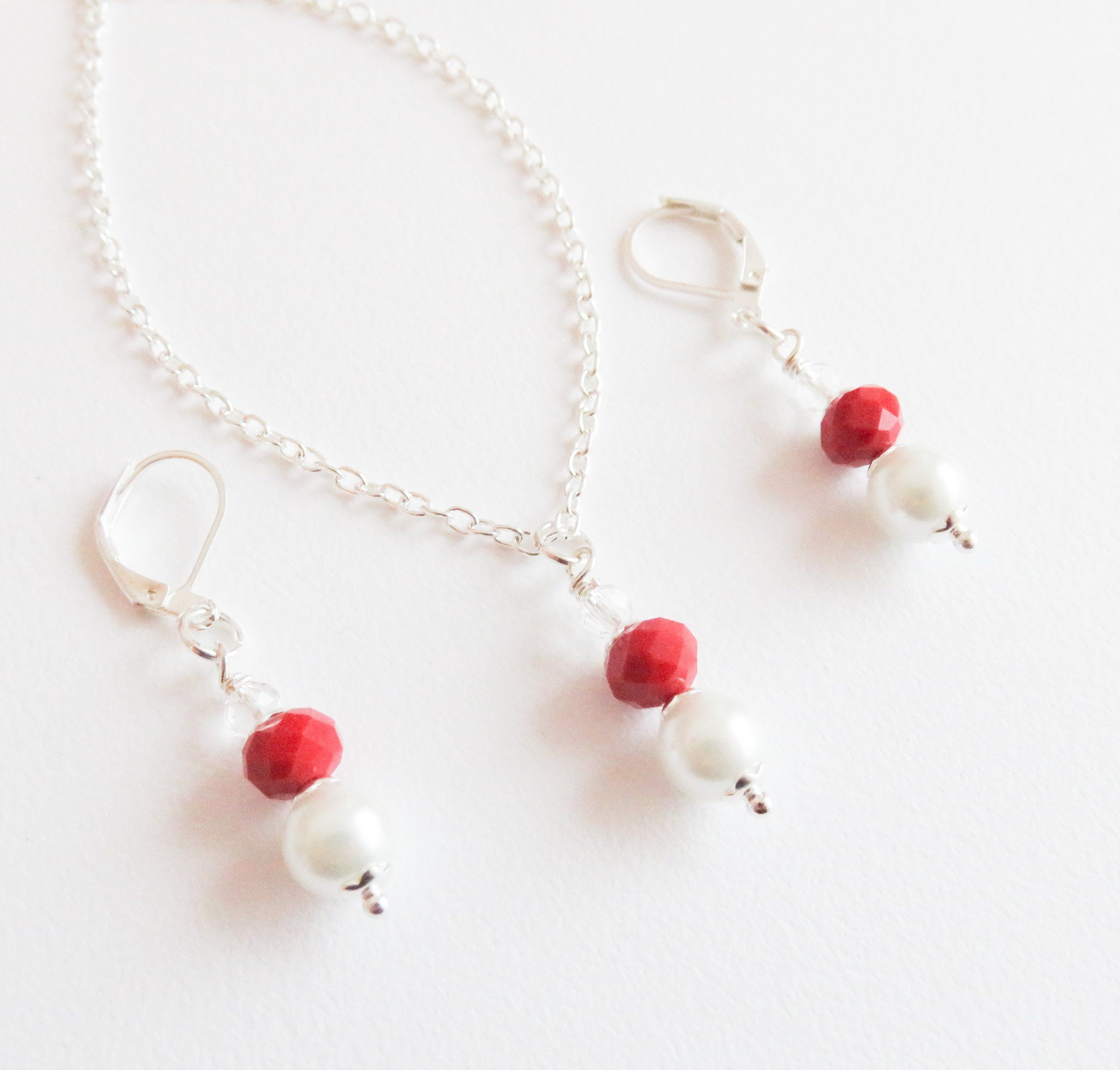 Red with white jewelry set