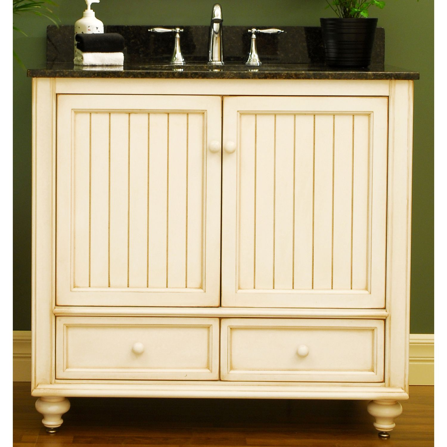 Beach cottage cabinets cottage style 36 wood bathroom vanity cabinet from the bristol - Small cottage style bathroom vanity design ...