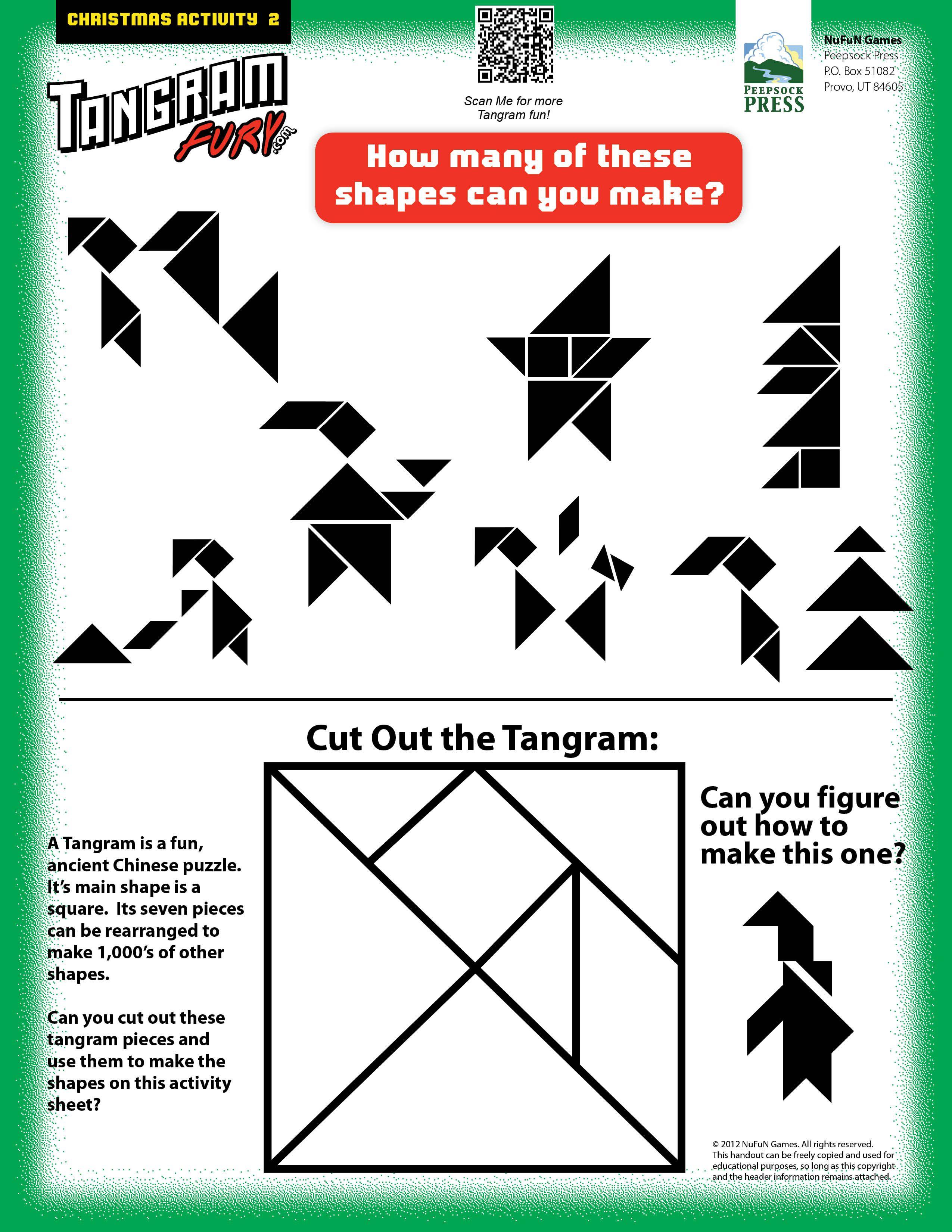13 Christmas Tangrams ideas   fun christmas activities [ 3300 x 2550 Pixel ]