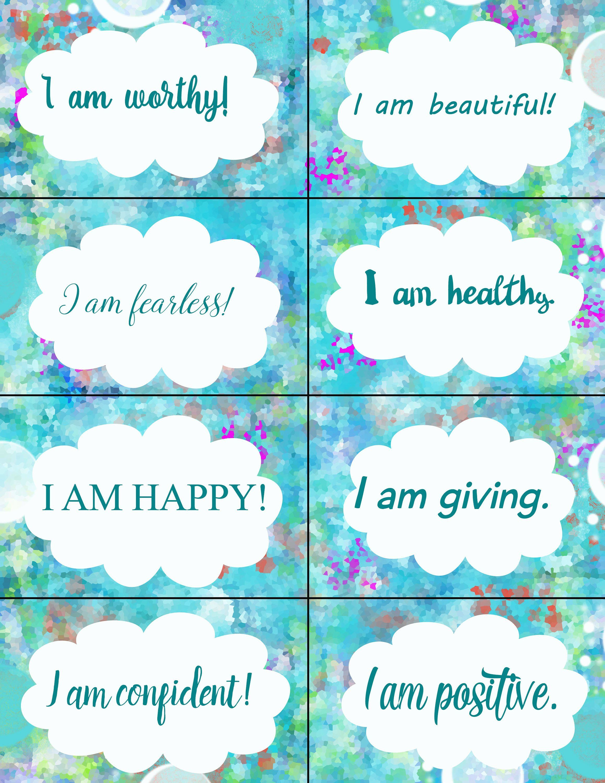 Printable Affirmations Trading Cards Motivation Cards