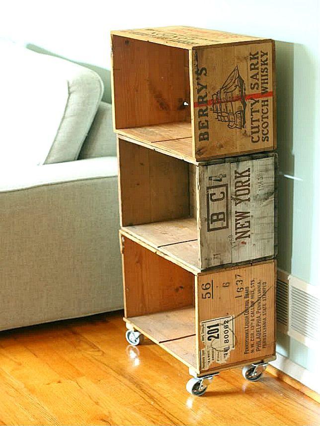Wine Crate Bookshelf Bookshelves Diy Crate Shelves Diy