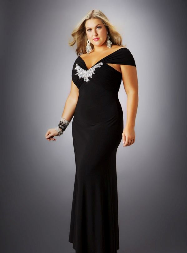 Black and Silver Plus Size Evening Dresses