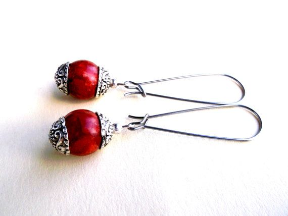 Free shipping.Coral earrings.Gemstone by Jewelry2Heart on Etsy