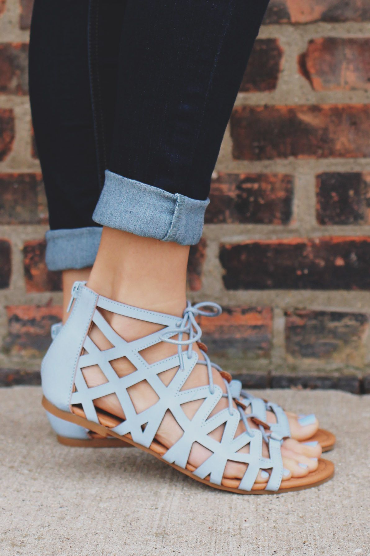 BABY BLUE LACE UP FRONT ZIP BACK STRAPPY SANDAL ARCHER 92