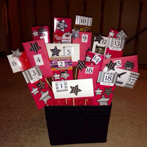 This Is A 18th Birthday Basket Filled With 18 Envelopes