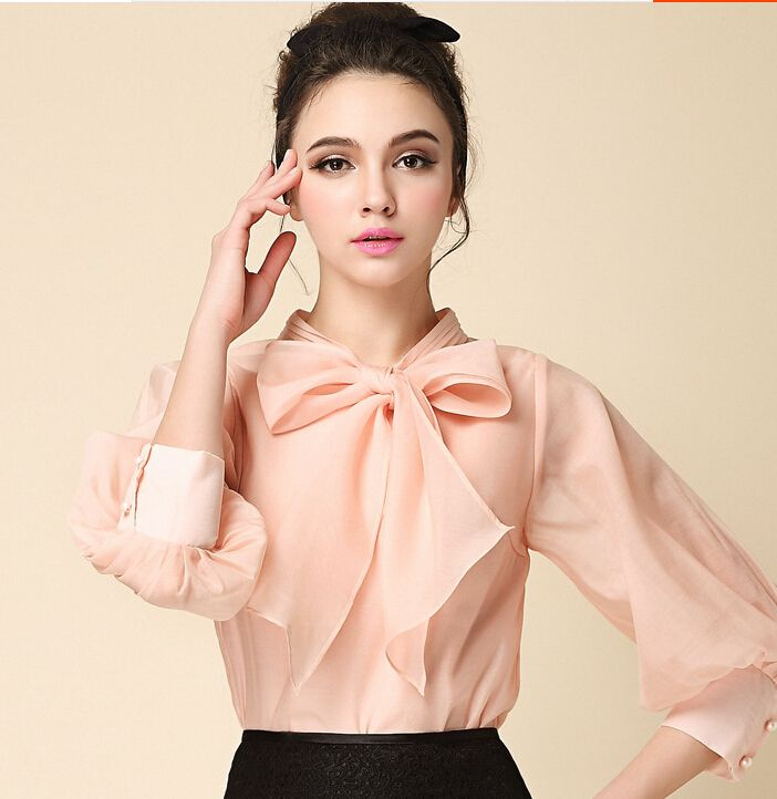 49669882 Mujer blusas elegantes 2015 otoño nueva moda femenina collar blusa ...