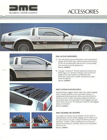 Brochure for DeLorean Accessories