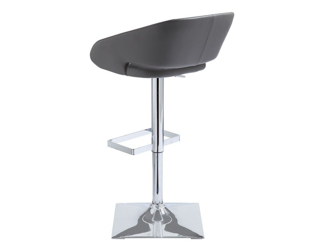 "GUSTAVO ADJUSTABLE BARSTOOL | GRAPHITE | This sleek, modern adjustable barstool is a perfect mix of design and comfort. Features a sophisticated square base and unique rectangular footrest. Stocked in graphite, onyx and snow faux leather. Seat height adjusts from 24"" to 32.5""."