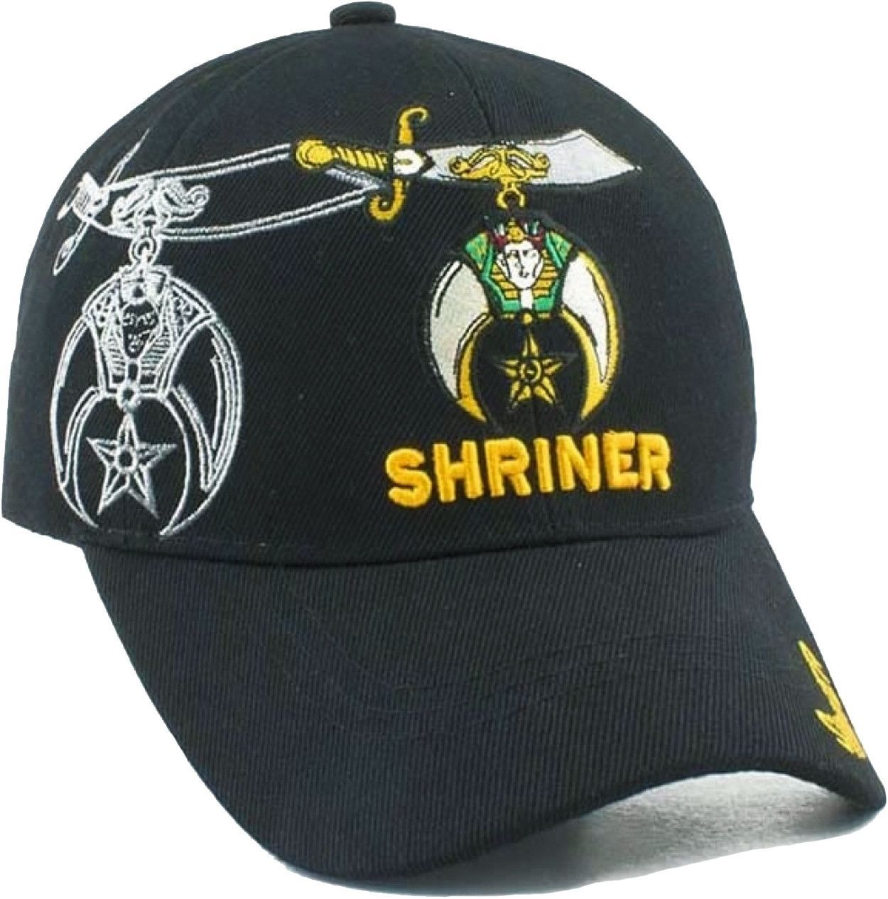 9af1a1b2a88 Shriner Hat Black Baseball Cap with Logo Associated with Freemasons  Shriners Prince Hall Masons Lodge Headwear