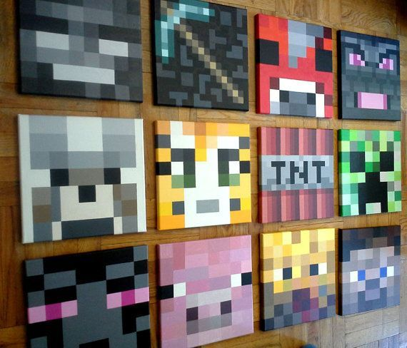 """Minecraft Inspired Wall Painting,12""""x12"""" Canvas, Boys Room"""