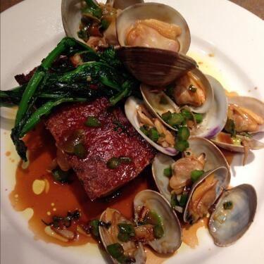Pork belly, clams, broccoli rabe & citron