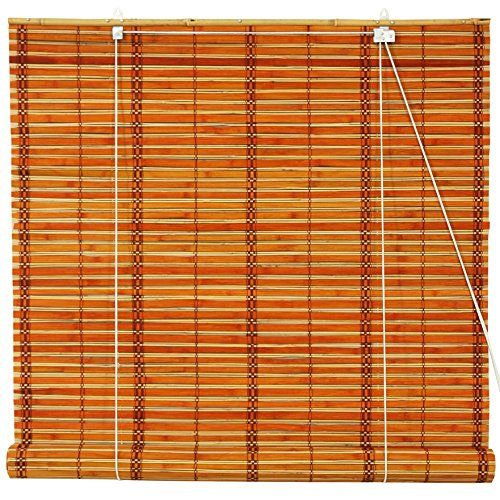 Oriental Furniture Burnt Bamboo Roll Up Blinds Two Tone Honey 48 In X 72 In With Images Bamboo Blinds Blinds Blinds For Windows