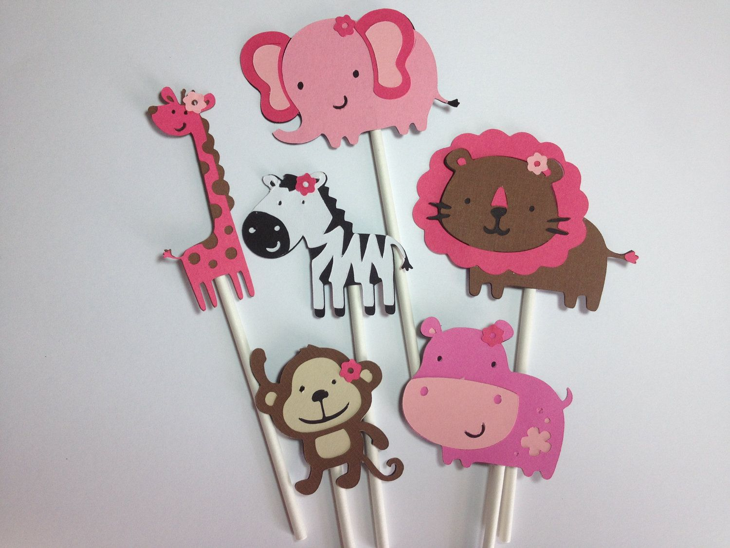 12 Brown And Pink Safari/Jungle Animal Cupcake Toppers,Baby Showers OR  Birthday Parties, Zoo Animals, Elephant, Monkey, Zebra, Lion, Hippo