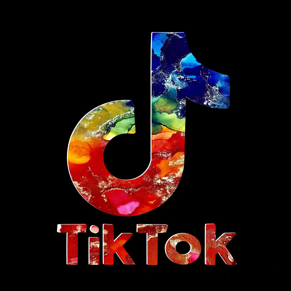 Rainbow And Gold Tik Tok Logo With Ink Wallpaper Iphone Neon Cute Galaxy Wallpaper Art Logo