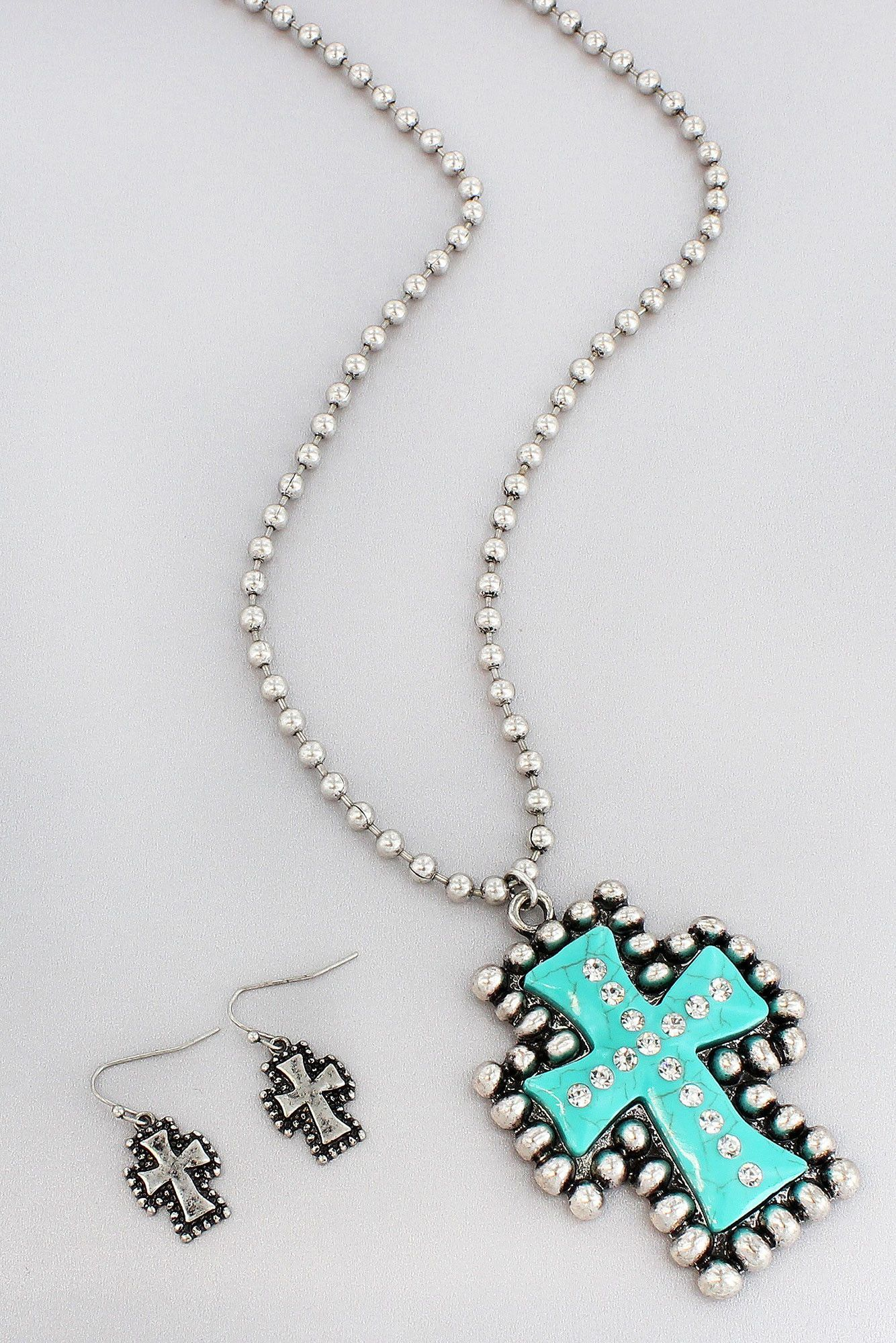 Western burnished silvertone and turquoise layered cross necklace