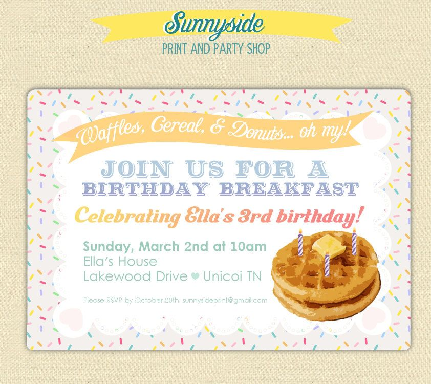 birthday breakfast invitation with waffles  burlap and